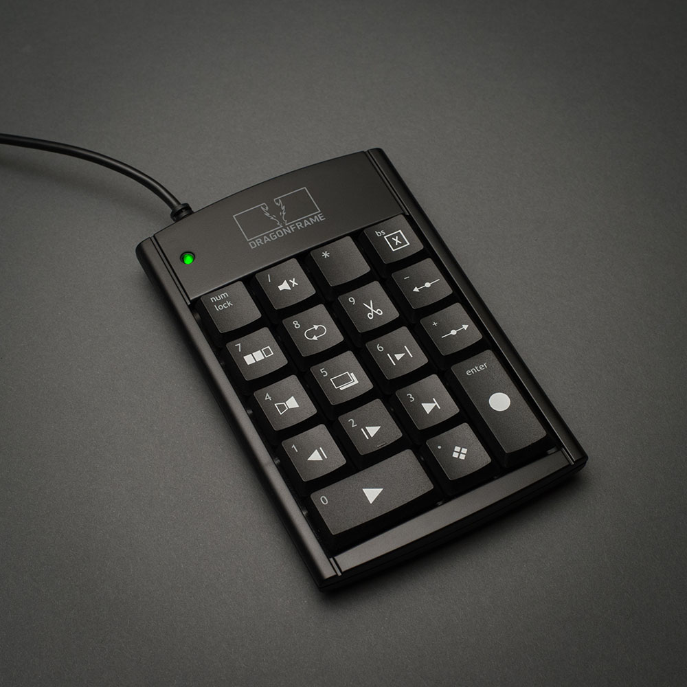Dragonframe USB keypad angled view