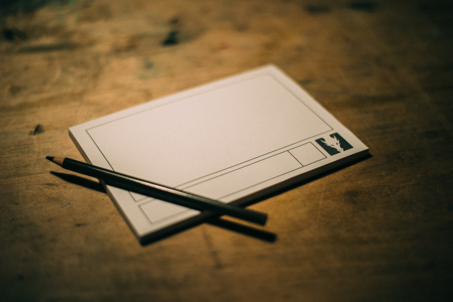 Pencil atop fresh storyboard pad