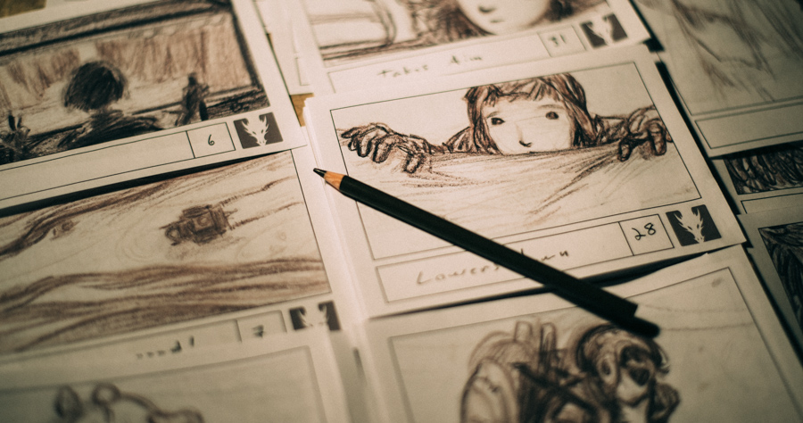 Storyboard sheets with drawings