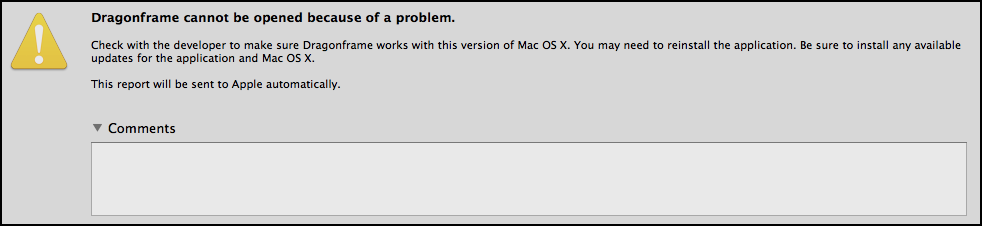 mac warning: Dragonframe cannot be opened because of a problem