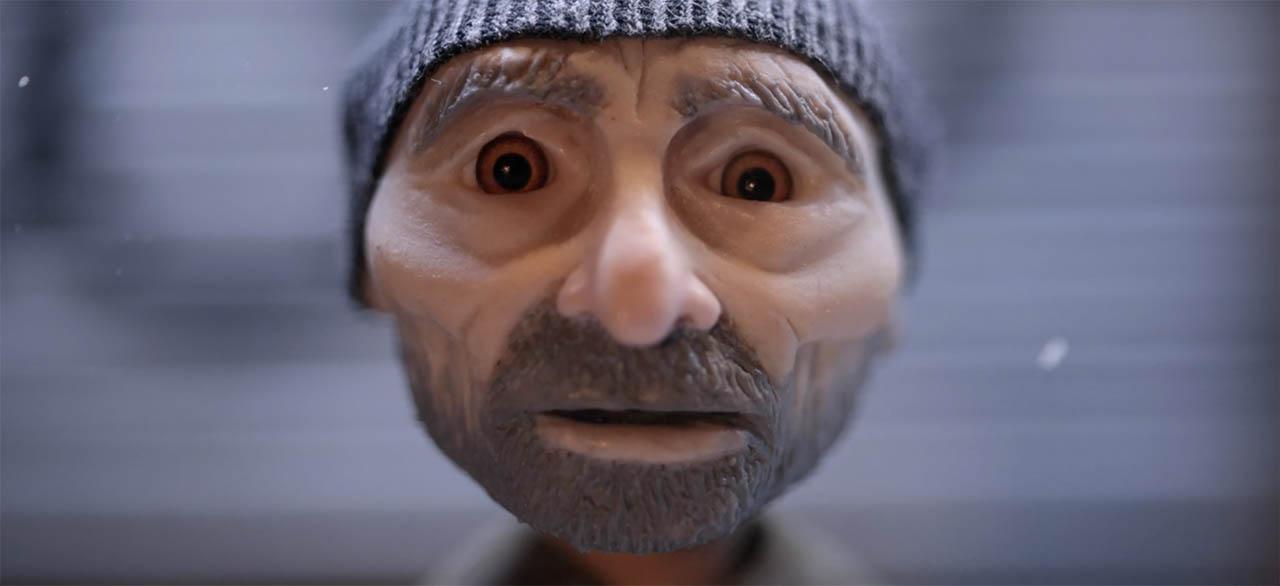 Homeless man face