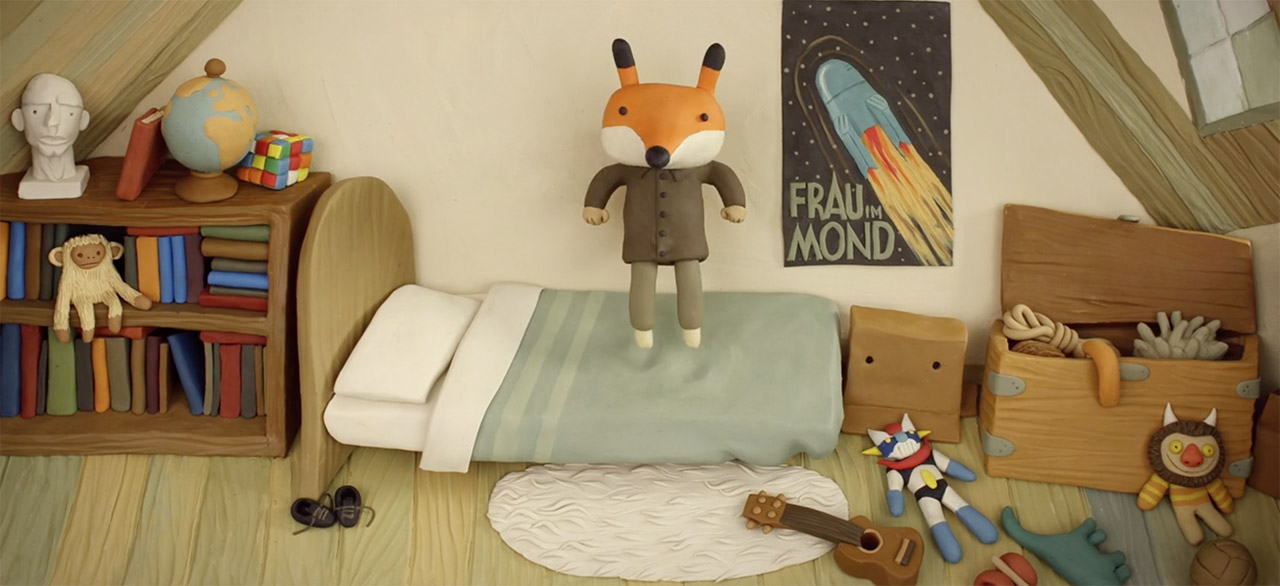 anthropomorphic fox jumping on bed