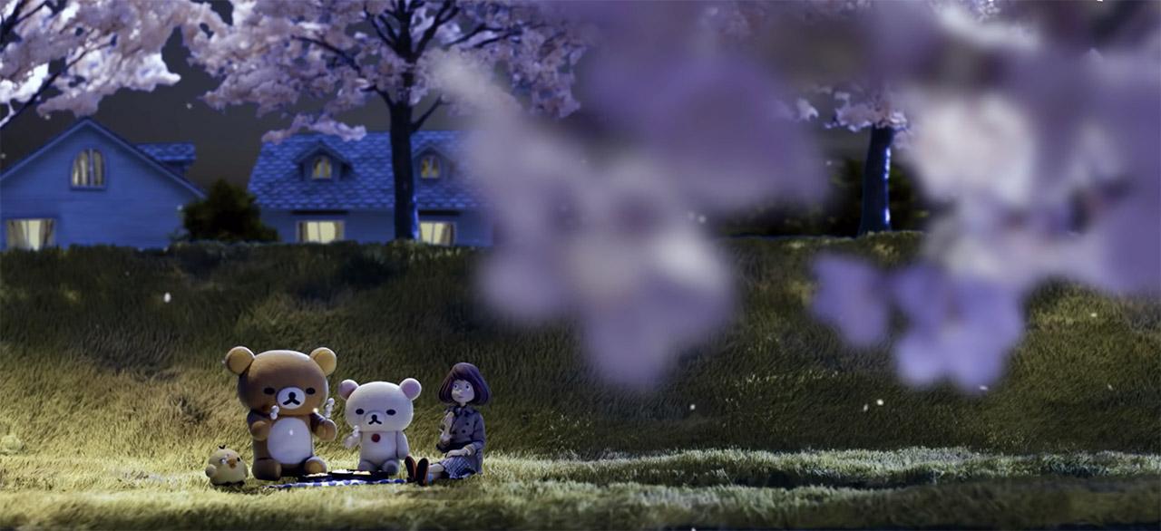 Woman and large cute bear characters having a picnic
