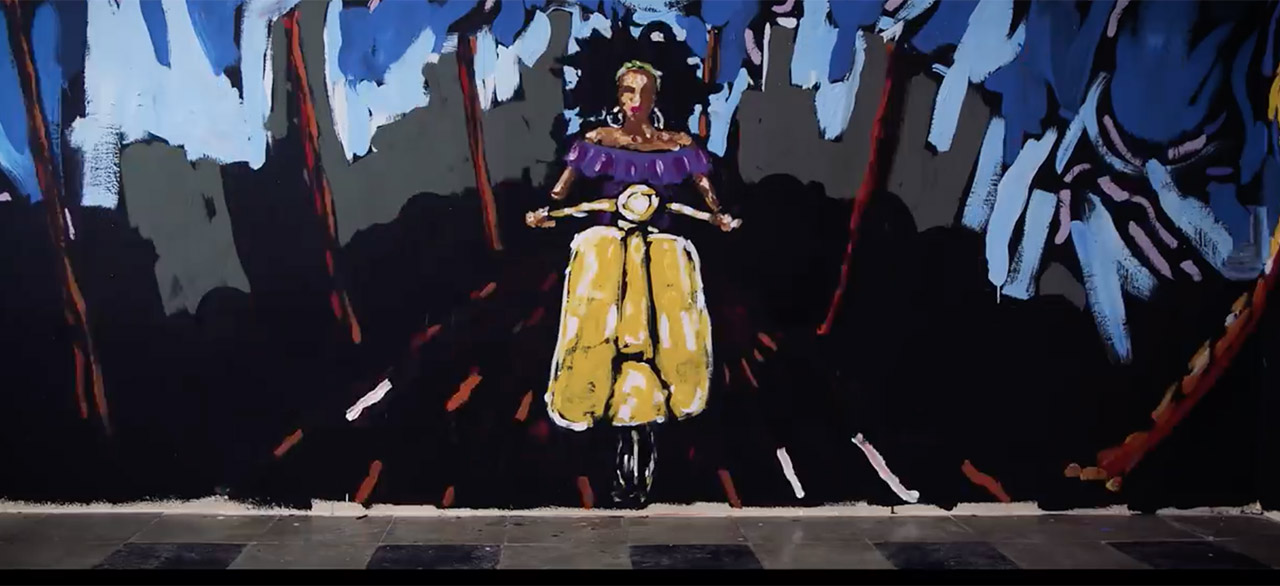 oil painting of woman riding moped