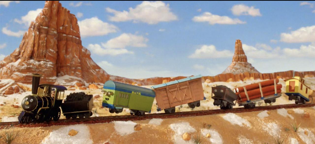 Happy toy train dancing along tracks