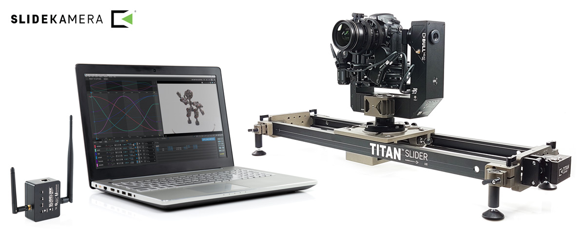 Slidekamera motion control slider, pan tilt head with focus via Dragonframe software